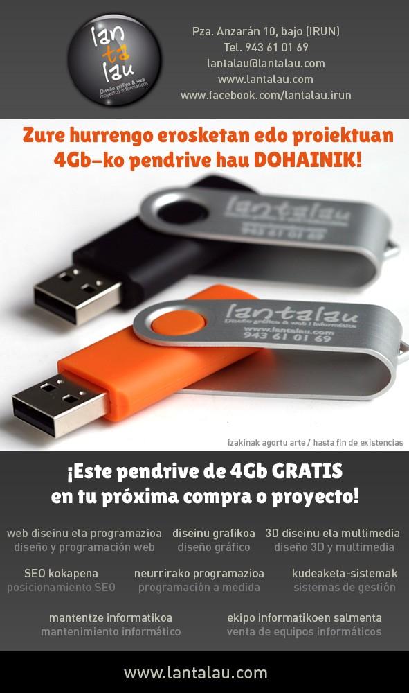 LANTALAU regala un USB de 4Gb a todos sus clientes